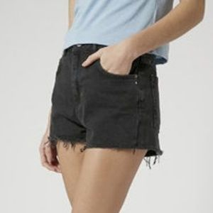 TOPSHOP Women's Moto Washed Black Mom Shorts 8